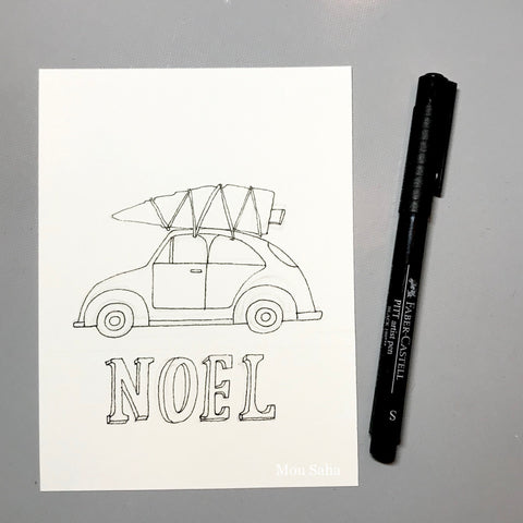Noel DIY Christmas Card with Car and Tree Traced with Pitt Artist Pen