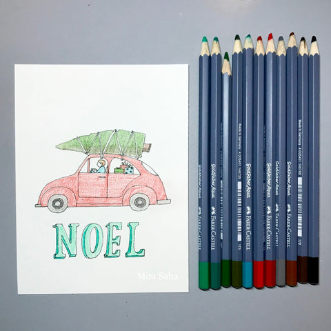 Noel DIY Christmas Card with Car and Christmas Tree Drawn with Goldfaber Aqua Watercolor Pencils