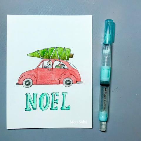 Noel DIY Christmas Card with Car, Christmas Tree, and Water Brush