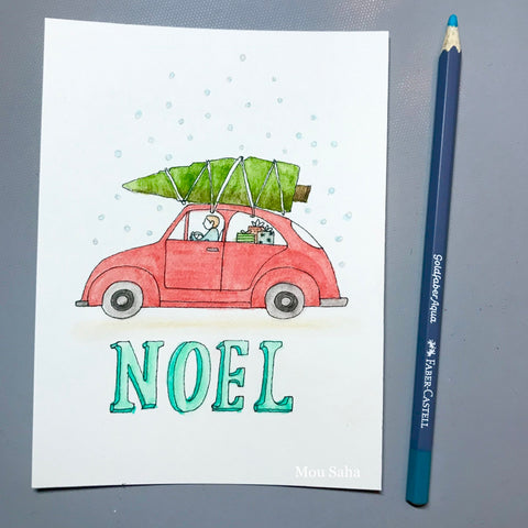 Noel DIY Christmas Card with Car, Christmas Tree, and Goldfaber Aqua Watercolor Pencil