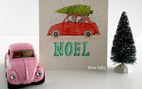 DIY Christmas card with car and tree
