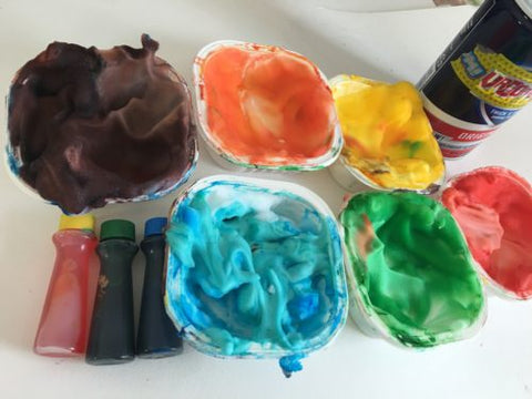 Shaving cream with food coloring