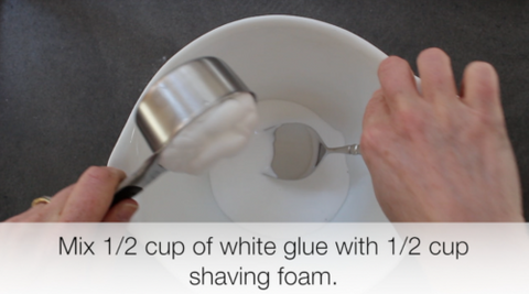 Mix glue and shaving foam