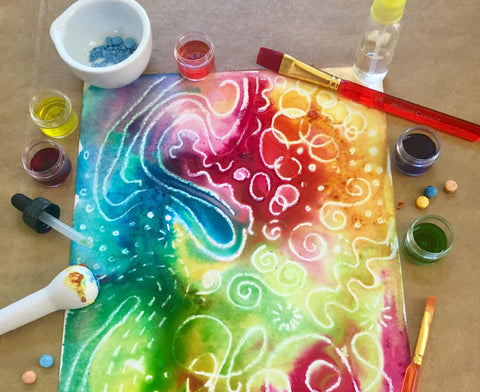 Fizzy Paint tools and painted paper