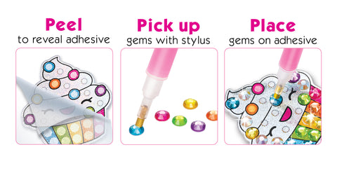 Diamond Painting Instructions. Peel to reveal adhesive, pick up gems with stylus, place gems on adhesive