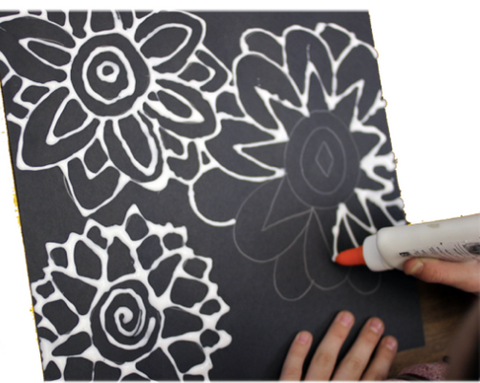 Drawing flowers with glue