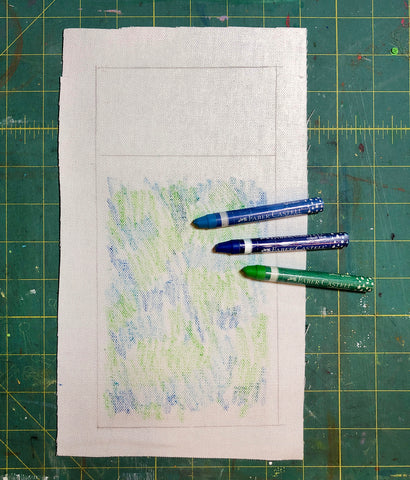 Fabric square with watercolor crayons