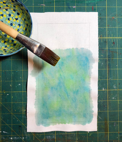 Fabric Square with watercolor and brush