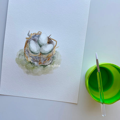 Birds nest with water brush and water cup