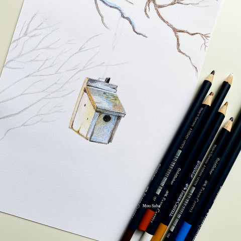 A bird house sketch with Goldfaber color pencils