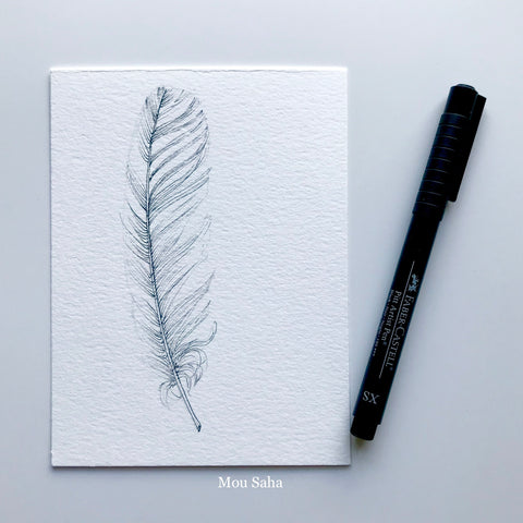 Feather Sketch with Pitt Artist Pen