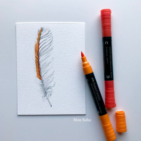 Feather Sketch and Albrecht Dürer Watercolor Markers - Orange and Red