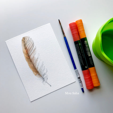 Feather Sketch with Albrecht Dürer Watercolor Markers - Orange and Red