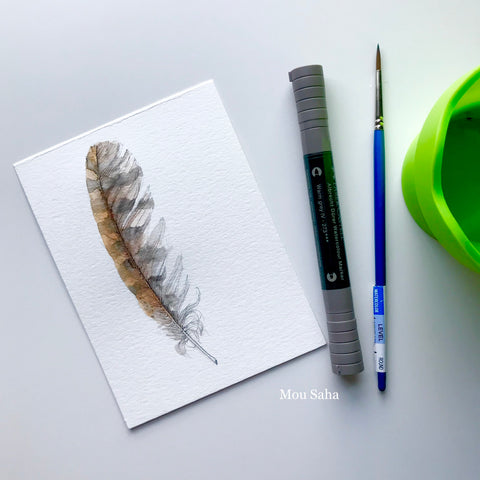 Feather Sketch with Grey Albrecht Dürer Watercolor Markers