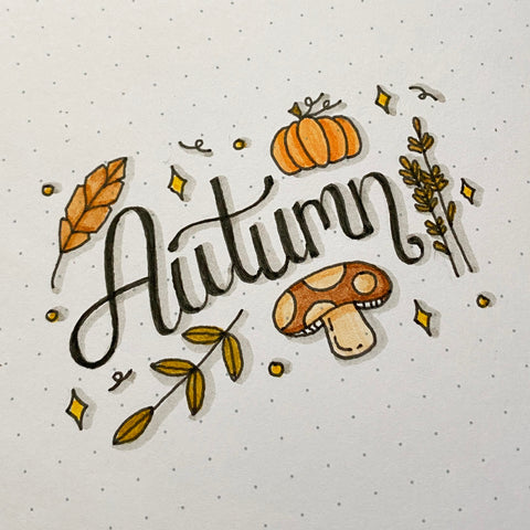 Autumn hand lettered with doodles