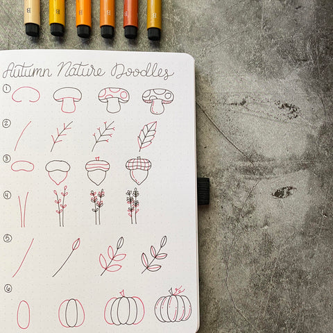 Bullet Journal with autumn doodles and Pitt Artist Pens