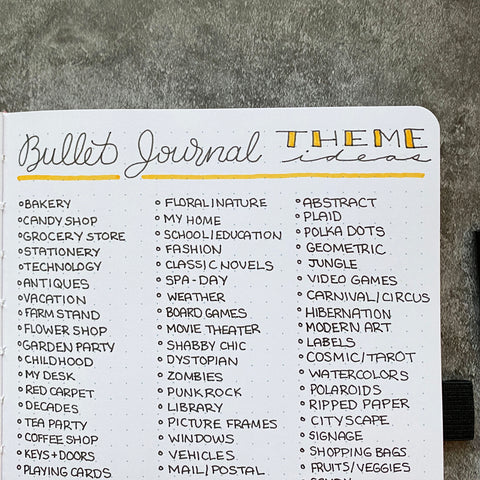 Bullet Journal with theme ideas