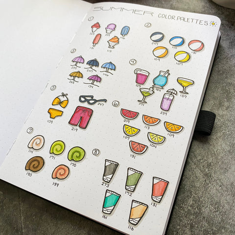 Bullet Journal with summer color palettes