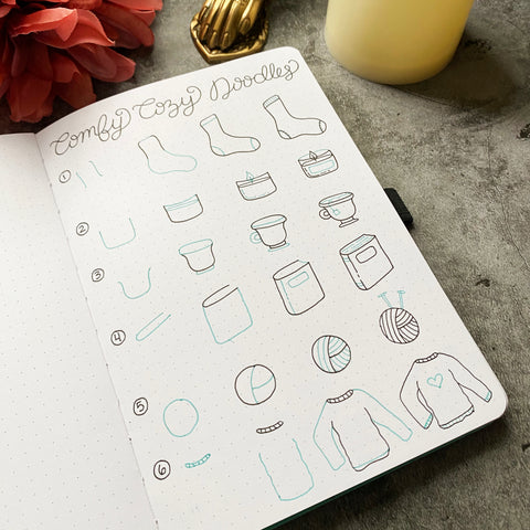 Bullet Journal with comfy cozy doodles