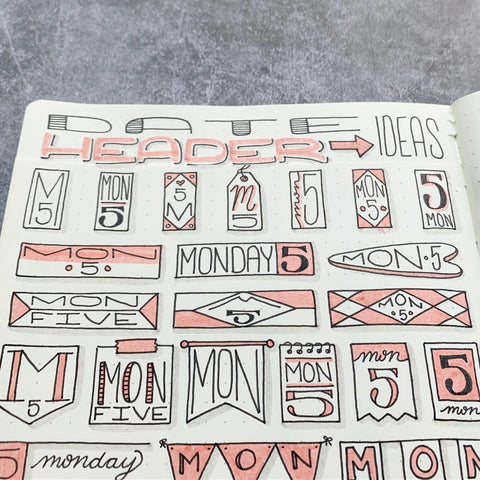 Date Doodles in Bullet Journal