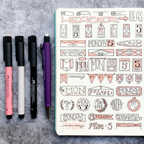 Pitt Artist Pens and Date Doodles in a Bullet Journal