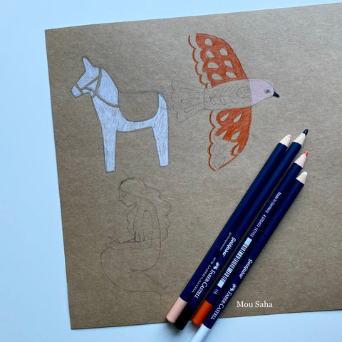 Animal sketches with Goldfaber color pencils