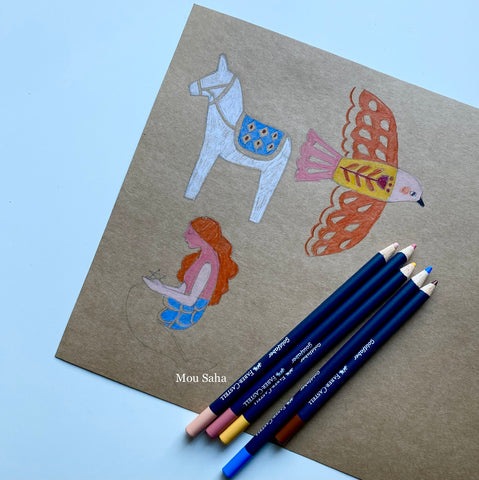 Bird, donkey, and mermaid on cardstock with Goldfaber color pencils