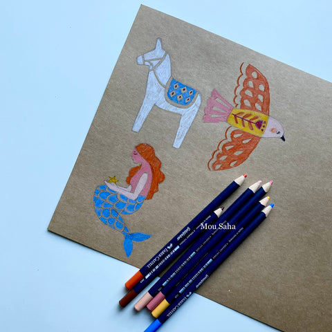 Donkey, bird, and mermaid on cardstock with Goldfaber color pencils