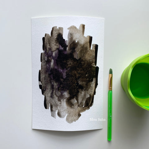 Black watercolor on paper with water brush