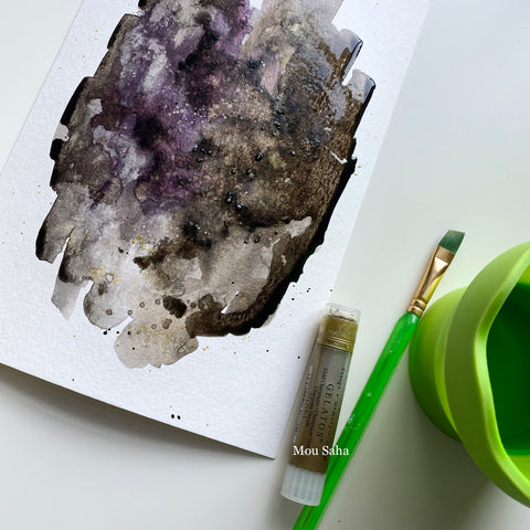 Black watercolor on paper with Gelato and water brush