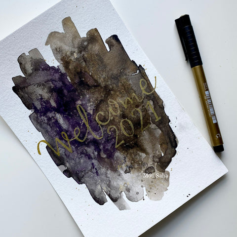 Hand lettering on watercolor with Pitt Artist Pen