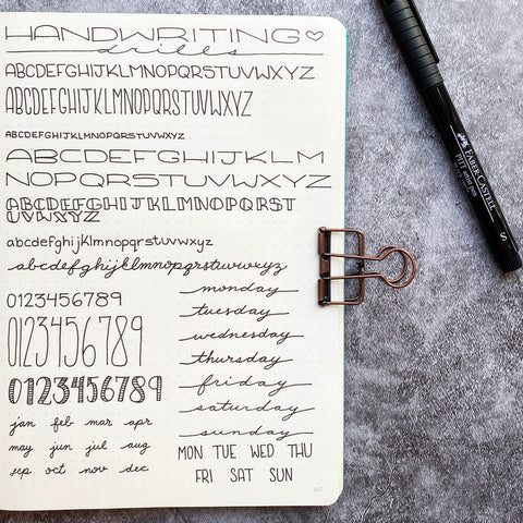 Handwriting Drills in a Bullet Journal with a Pitt Artist Pen