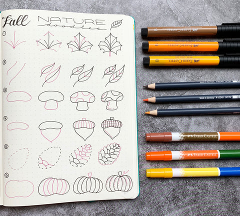 Fall Nature Doodles on Bullet Journal with Pitt Artist Pen