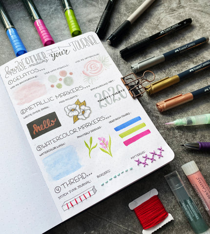 Bullet Journal with Gelatos, thread, watercolor markers, metallic markers, and Pitt Artist Pens