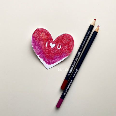 Red paper heart and Goldfaber Color Pencils