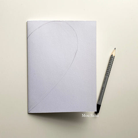 Folded paper and graphite pencil