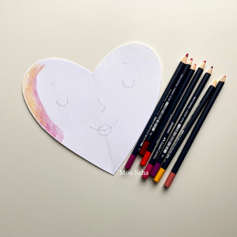 Paper heart and Goldfaber Color Pencils