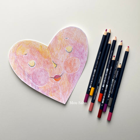 Colored paper heart and Goldfaber Color Pencils