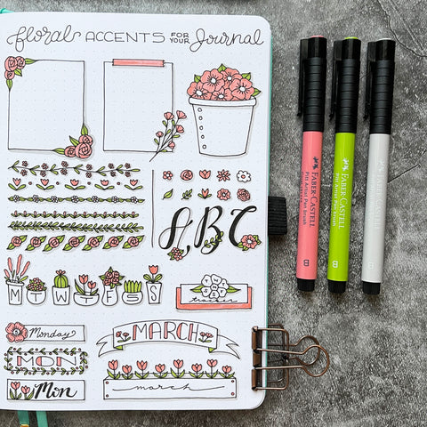 Bullet Journal with floral accents and Pitt Artist Pens