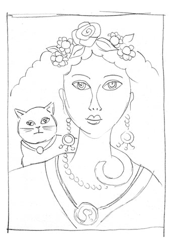 Sketch of a woman with a cat