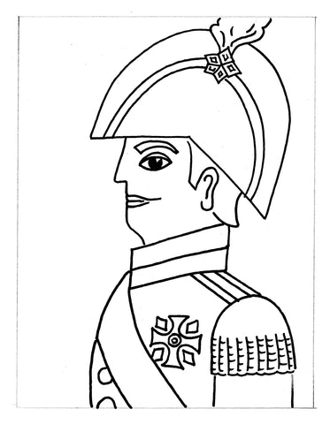 Sketch of a man in soldier outfit