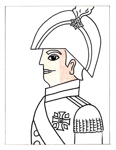 Sketch of man in soldier outfit with shaded in skin