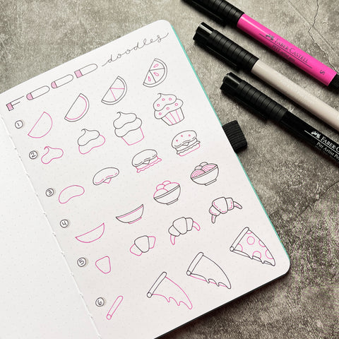 Bullet Journal with food doodles and Pitt Artist Pens