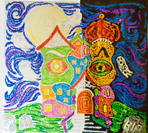 Colored Hundertwasser Haunted House with Black Watercolor