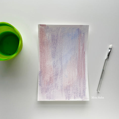 Paper with Gelatos and water cup and brush