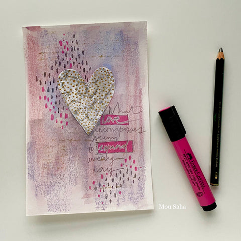 Valentine's Day Card with Pitt Artist Pen and Castell 9000 Pencil