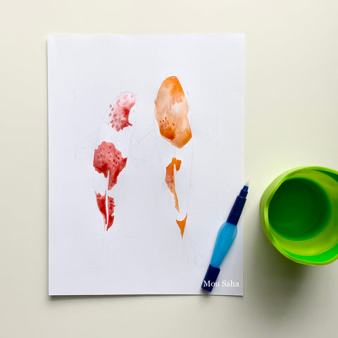 Watercolor koi fish with water brush and cup