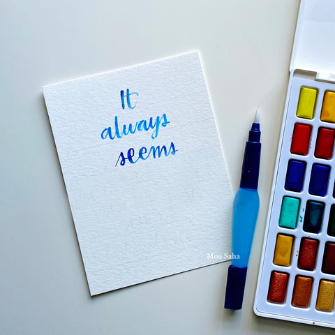 Watercolor hand lettering and a Watercolor Pan