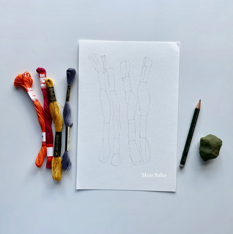 Paper with Castell 9000, Kneadable Eraser, and thread
