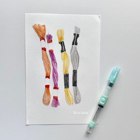 Thread sketches with water brush